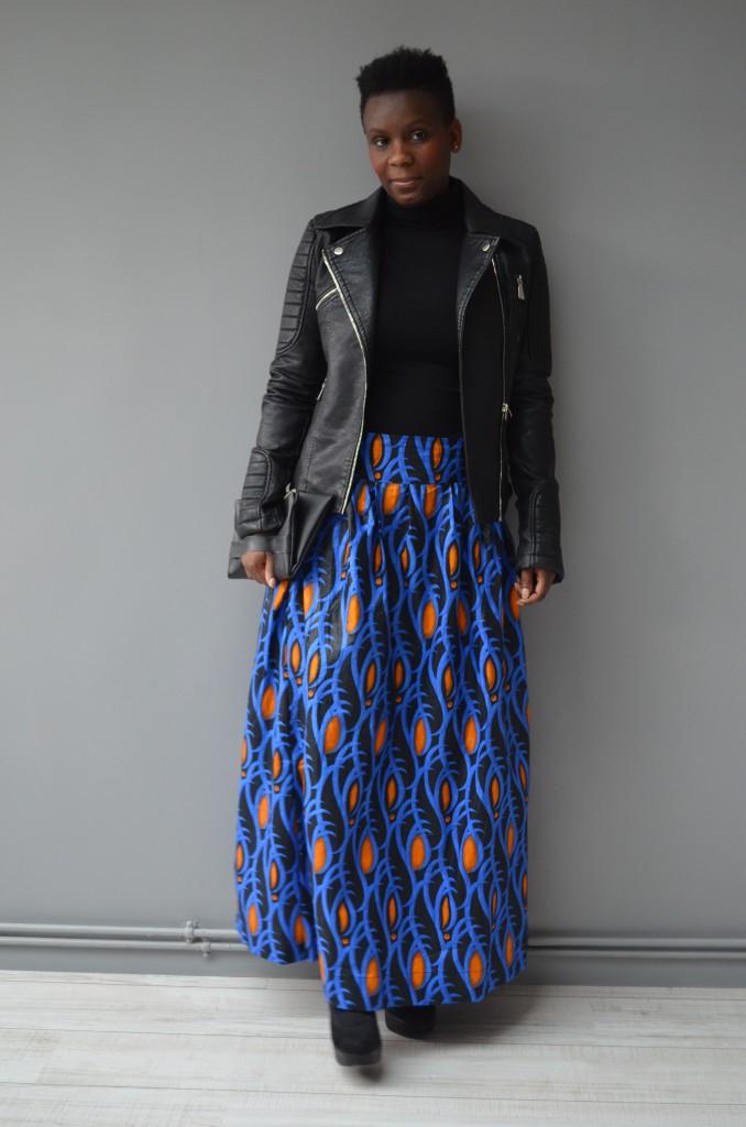 jupe wax + veste en cuir